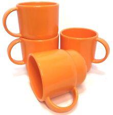 Tupperware Coffee Mugs Stacking 4 Piece Set Radiance Orange New