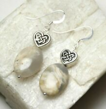 Moonstone White 13 x 18mm Oval Gemstone Earrings Sterling Silver Celtic Hearts