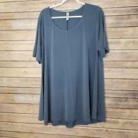 LuLaRoe Womens Dusty Blue Short Sleeve Long Shirt Blouse Size 2XL EUC
