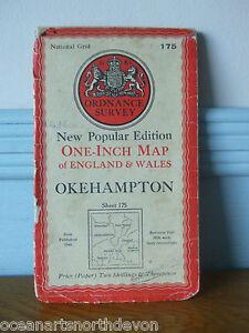NEW POPULAR EDITION ONE INCH MAP OKEHAMPTON 1946 ORDNANCE SURVEY 175 DEVON