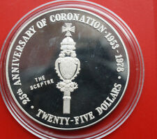 "Cayman Islands: 25 Dollars 1978 Proof PP Silber, KM# 40 #F1201, ""Sceptre"""