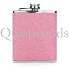 Pink Glitter Bling Stainless Steel Hip Drinking Liquor Flask 7oz