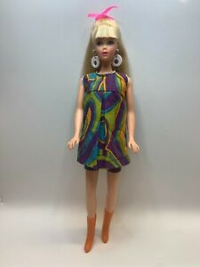 Vintage Barbie CLONE MOD ABSTRACT SHORTS & TUNIC with Hong Kong Orange Boots