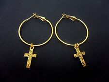 "A PAIR OF SIMPLE GOLD COLOUR 30 MM 1"" HOOP & CROSS EARRINGS. NEW."