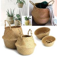 2Pcs Seagrass Belly Basket Natural Storage Plant Pots Laundry Bag Home Panier