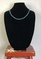 Vintage Necklace Blue Plastic Beads Collar Length Pretty Fun Retro Kitsch Quirky