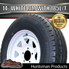 14 x 6 185 LT White Sunraysia Wheel Rim & Tyre suits Ford. Trailer Caravan Boat