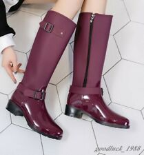 Women Black Zipper Buckle Outdoor Mid Riding Shoes Leather Knee High Rain Boot