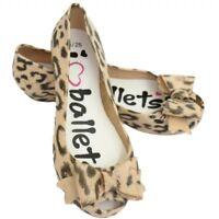 Girls Jelly Dolly Ballerina Ballet Flat Sandals Pumps Shoes Black Animal Print