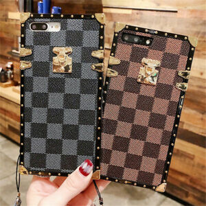 Luxury Plating Grid Leather Trunk Case cover for iPhone 12 11 Pro Max XR XS 7 8