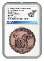 1969-2019 Apollo 11 50th Robbins Medal 1 oz Copper Medal NGC MS70 FDI SKU55119