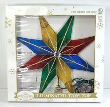 "Kurt ADLER 14"" lighted 8-Point Star stained glass style + gem Tree Topper MINT!"