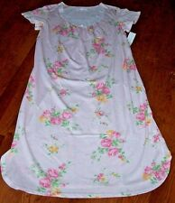 "NWT Carole Hochman Pink GEO Green FLORAL Long 46"" Nightgown M Gown WHITE LACE"