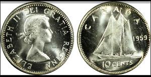 :1959 10C SILVER ELIZABETH-II CANADA KM#-51 RARE GEM-BU PCGS MS-65 HIGH-GRADES