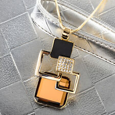 Women Golden Crystal Pendant Geometric Long Sweater Chain Necklace Jewelry Gift