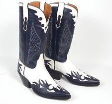 Ammons Blue & White Handmade Cowboy Boots - Men's Sz 9.5E Overlays Tall Heel