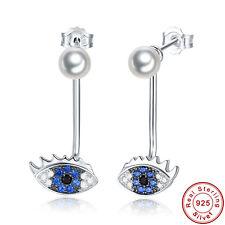 Free Box Sapphire & Fresh Water Pearl S925 Sterling Silver Dangle Drop Earrings