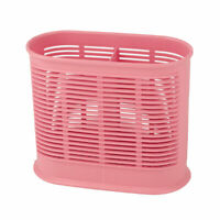 Home Kitchen Plastic 2 Compartments Fork Chopsticks Holder Cage Container Pink