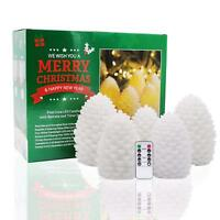Battery Operated LED Pine Cone Flameless Candles Real Wax with Timer and Remote