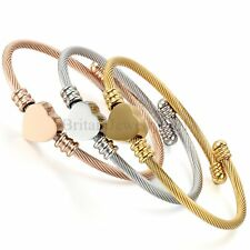 Bracelet for Women 3 Cable Wire Heart Friendship Bangle Stackable Cuff Gift Set