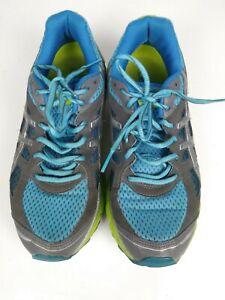 Asics Gel Scram Womens Running Shoes Gray/Blue/Green Sz 7 EUC