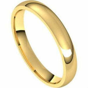 3mm 14K Solid Yellow Gold Comfort Fit Wedding Band 4-13.5 Free Laser Engraving