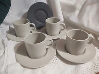 Set of 4 Cups & 5 Saucers Calvin Klein Swid Powell Ceramic Stoneware Matte Earth