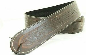 EMBOSSED TEXAN BROWN GENUINE LEATHER ACOUSTIC ELECTRIC BASS GUITAR STRAP UK MADE