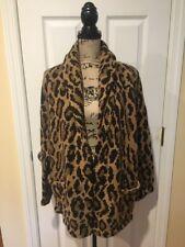 Lauren Ralph Lauren Hand Knit 100% Lambswool Sweater Cardigan Leopard XL EUC