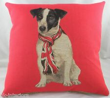 "18"" UNION JACK RUSSELL DOG with Flag SCARF Belgian Woven Cotton Tapestry Cushion"