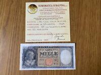 BANCONOTA LIRE 1000 ITALIA TESTINA 1947 SERIE W SOSTITUTIVA R3 certificata BB