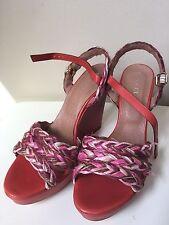 Sesto Meucci Women's 332 Red Braid Wedge Sandal Shoes Size 10M $200