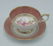 AYNSLEY TEACUP AND SAUCER SET #2539 PINK ROSE GOLD CHINTZ BONE CHINA