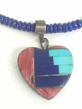 Sterling Lapis Turquoise Red Coral HEART Pendant Beaded Necklace Signed YZ
