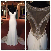 White Mermaid Long Evening Dress Bead Chiffon Party Celebrity Dress Prom Gown