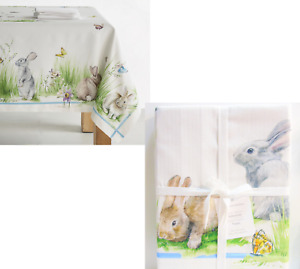 Williams Sonoma FLORAL MEADOW TABLECLOTH Bunny Rabbit Butterflies Flowers 70x108