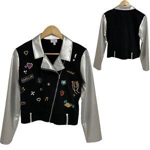 D- signed Disney Full Zip Black Sweatshirt Silver Sleeves Girl's L (14/16)- G-1B