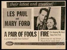 1957 Les Paul Mary Ford photo A Par of Fools record release trade print ad