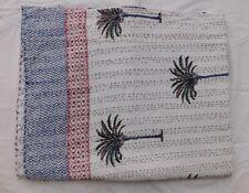 New Kantha Quilt Hand Block Cotton Bedspread Handmade Queen Size Throw White