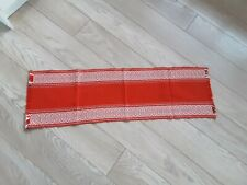 Vintage MCM scandi Woven Linen Table Runner Cloth orange used 40x12""