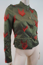 JOHN GALLIANO Khaki Green Silk Military Red Arrow Fitted Jacket F38 UK10