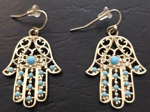 Hamsa Gold Finish Hamsa  Evil Eye Hand  Drop Dangle Earrings With Blue Beads