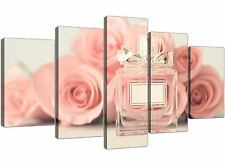 XL Shabby Chic Pink Cream Rose Perfume Girls Bedroom Floral Canvas 5 Part - 5285