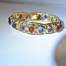 Bangle Bracelet 14K Gold Multigem Tourmaline Cabochon Citrine Amethyst Modernist