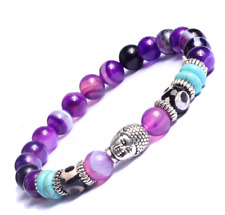 Men Women Natural Purple Agate Gemstone Beads Bracelet Buddha Stone Bracelet
