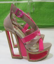 "skintone/pink  6""High Wedge Heel  2""Platform peep toe  Sexy Shoes Size  5.5"