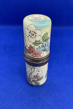 More details for staffordshire enamel hand painted flowers sewing needle case needlecase (4)