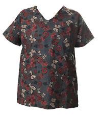 Women's Fashion Nursing Scrub Tops Printed Medical Uniforms Gray Butterflies L
