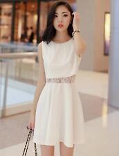 Korean Womens Sweet Mini Lace Splicing Dress Sleeveless Short Skirt Summer R705