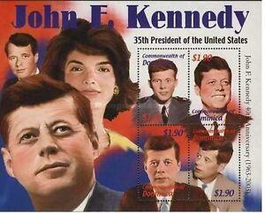 dominica ca 2002 jfk president john kennedy jackie onassis president usa ms 4v